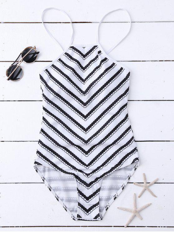 maillot de bain col haut dos nu imprim zigzag blanc une pi ce s zaful. Black Bedroom Furniture Sets. Home Design Ideas
