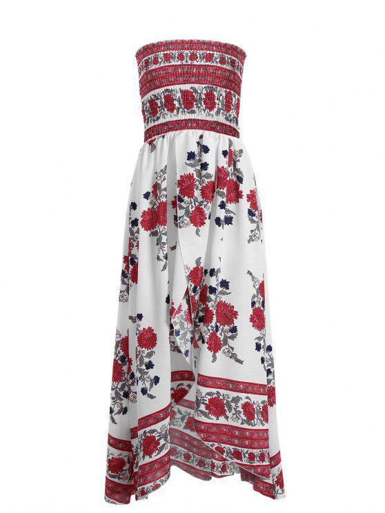 Vestido tubo floral de hendidura frontal de Smocked - Blanco L