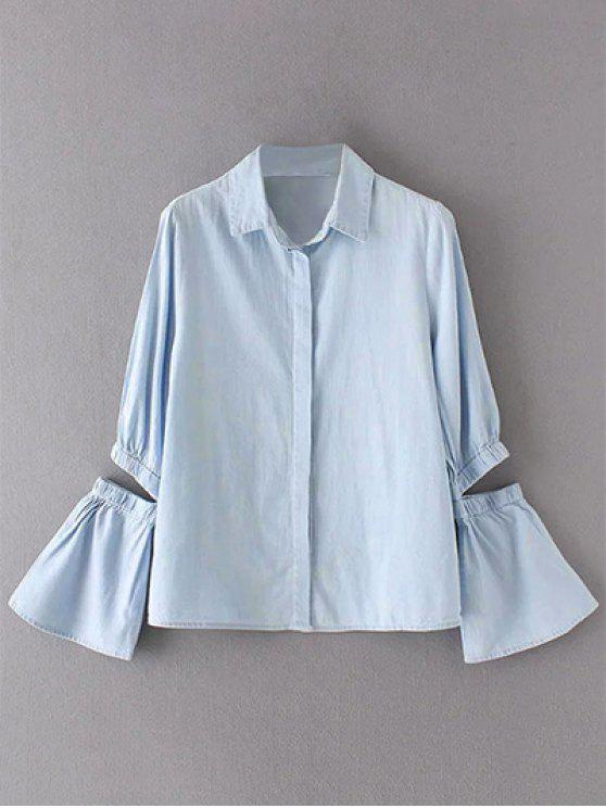 latest Cut Out Flare Sleeve Chambray Shirt - LIGHT BLUE S