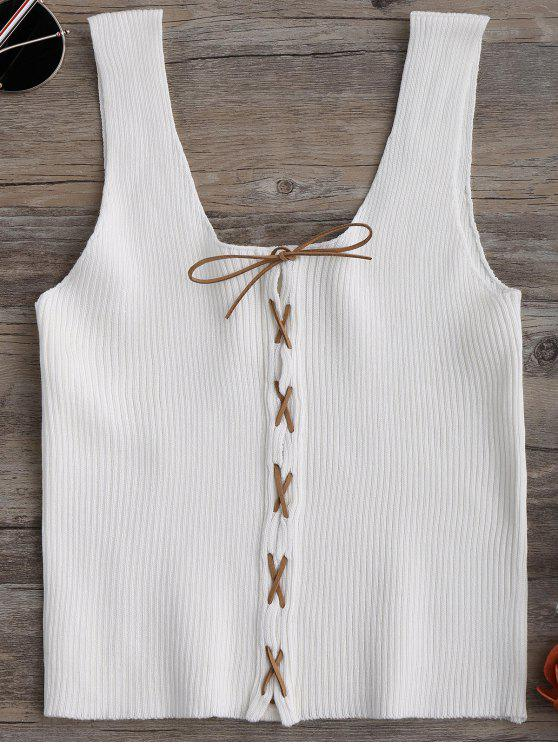women's Knitting Lace Up Tank Top - WHITE ONE SIZE