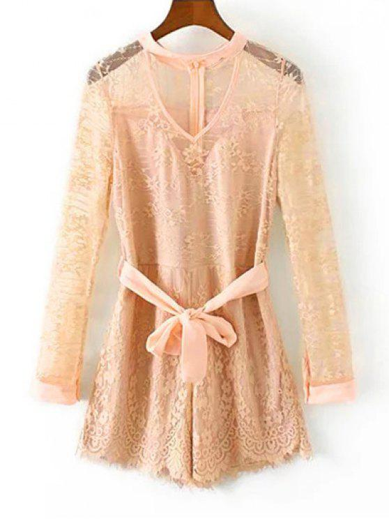 trendy Choker Lace Sheer Romper With Tie Belt - LIGHT APRICOT PINK L