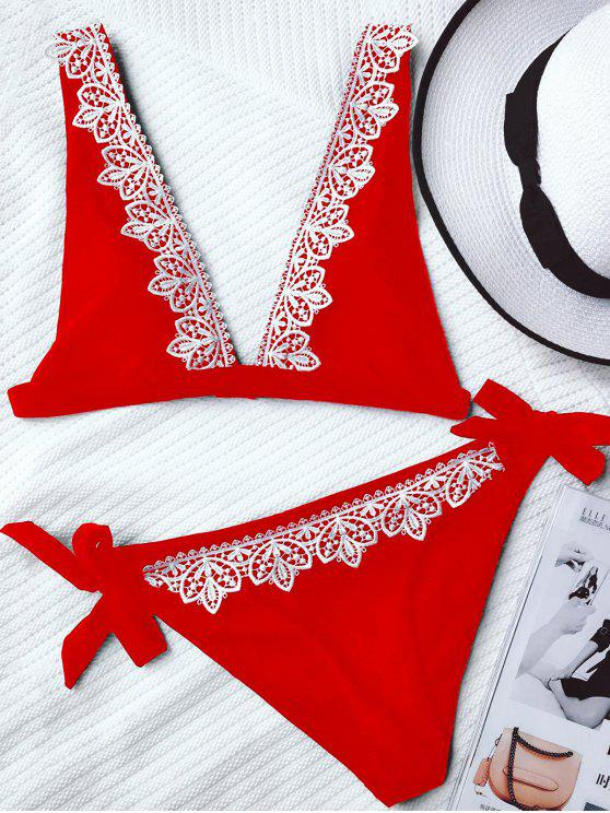 best Lace Trim Plunging Neck Tied Bikini - RED L