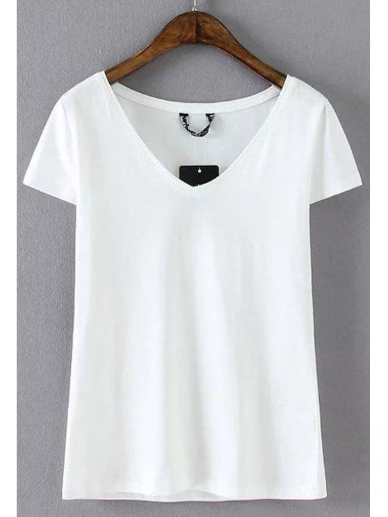 Mezcla de algodón con cuello en V T - Blanco L