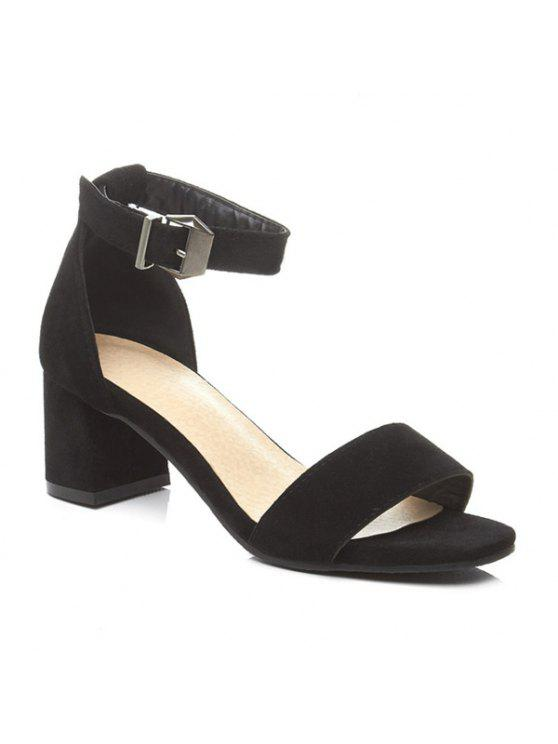 affordable Block Heel Ankle Strap Suede Sandals - BLACK 37