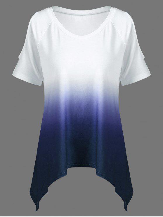 T-Shirt Asymétrique Épaules Ouvertes Ombré à Col en V - Bleu Foncé XL