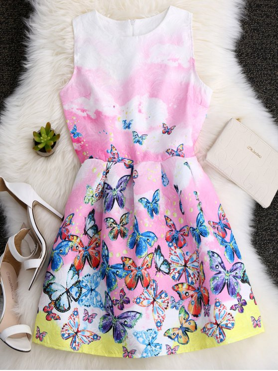 best Butterfly Printed A Line Skater Dress - COLORFUL S