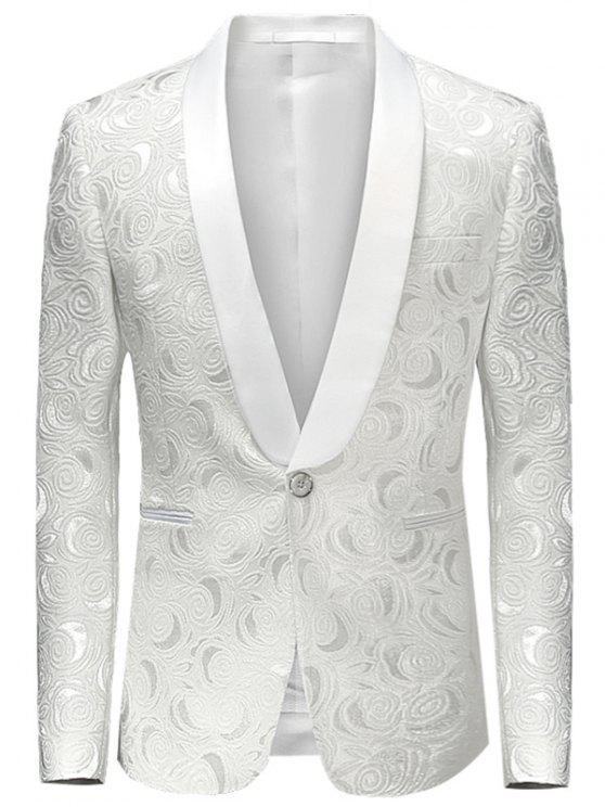 شال طية صدر السترة السترة جاكار - أبيض L