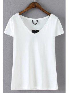 Cotton Blend V Neck Tee - White L