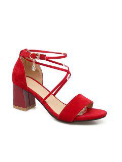 Rhinestone Block Heel Sandals - Red 38