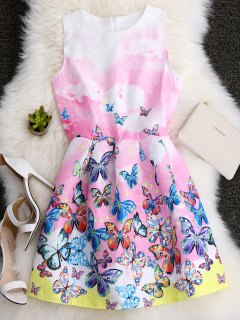 Butterfly Printed A Line Skater Dress - S