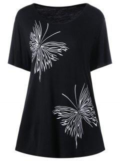 Plus Size Butterfly Graphic T-Shirt - Black 4xl
