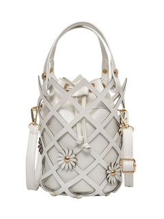 Flowers Cut Out Bucket Handbag - Off-white