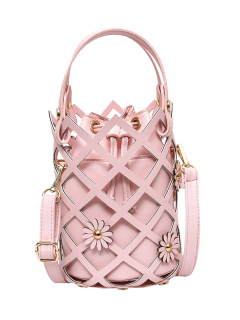 Flowers Cut Out Bucket Handbag - Pink