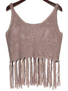 Knitting Fringed Cover Up - Taupe