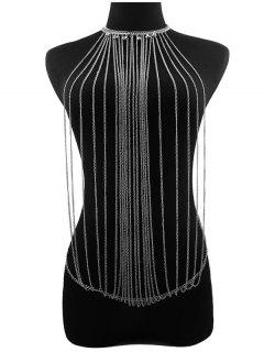 Rhinestoned Fringed Body Chain - Silver