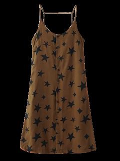 Button Up Star Print Slip Dress - Brown M