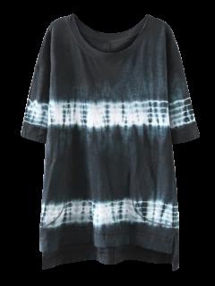 High Low Tie Dye Stripe T-Shirt Dress - Purplish Blue L