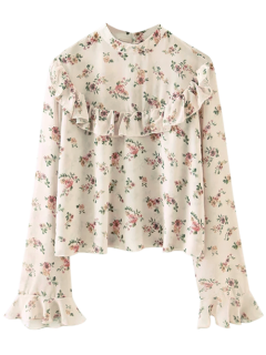 Chiffon Floral Print Frilly Blouse - Pink S