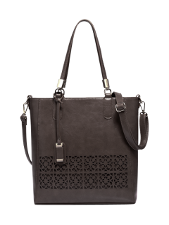 Faux Leather Hollow Out Shoulder Bag - Dark Coffee