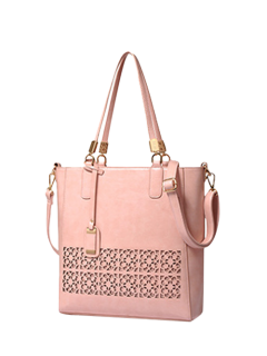 Faux Leather Hollow Out Shoulder Bag - Pink