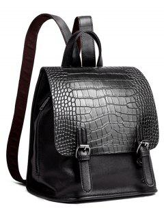 Dual Buckles Crocodile Embossed Backpack - Black