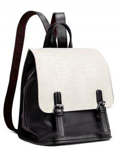 Dual Buckles Crocodile Embossed Backpack - White And Black