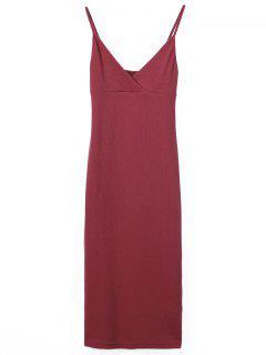 Slip Surplice Slinky Tank Dress - Red M