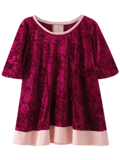 Crushed Velvet Tee - Burgundy L