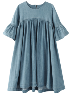 Denim Babydoll Dress - Blue M