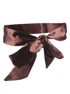 Knotted Satin Sash - Coffee