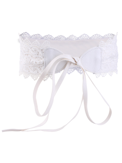 Elastic Knotted Lace Waist Belt - White