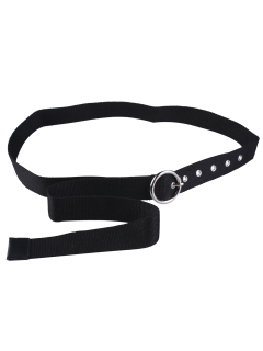 Round Pin Buckle Long Canvas Belt - Black
