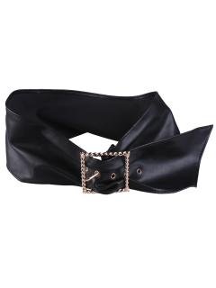 Square Pin Buckle PU Waist Belt - Black
