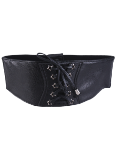 Star Grommet Lace Up Elastic Waist Belt - Black