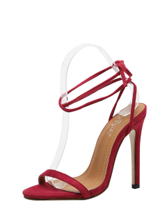 Tie Up Stiletto Heel Flock Sandals - Red 38