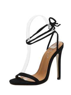Tie Up Stiletto Heel Flock Sandals - Black 40