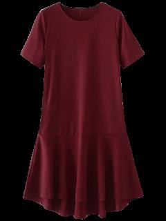 Robe Haut Bas Embellie Falbalas Au Bas - Rouge M