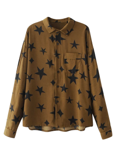 Pentagram Print Pocket Shirt - Brown S