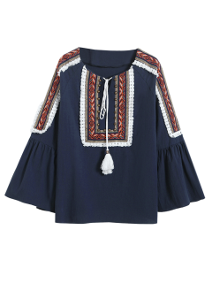 Linen Blend Bell Sleeve Blouse - Cadetblue