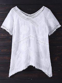 Embroidered V Neck Asymmetric Top - White