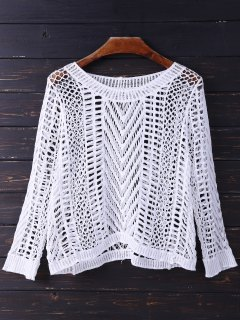 Cutout Crochet Cover Up Top - White