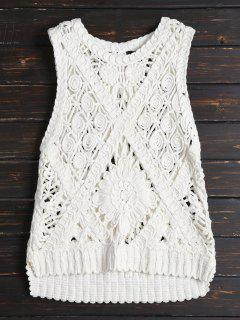 Armhole High Low Sweater Vest - White