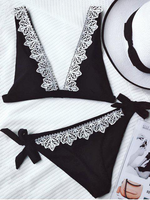 ladies Lace Trim Plunging Neck Tied Bikini - BLACK M Mobile