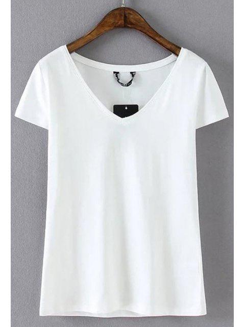 trendy Cotton Blend V Neck Tee - WHITE S Mobile