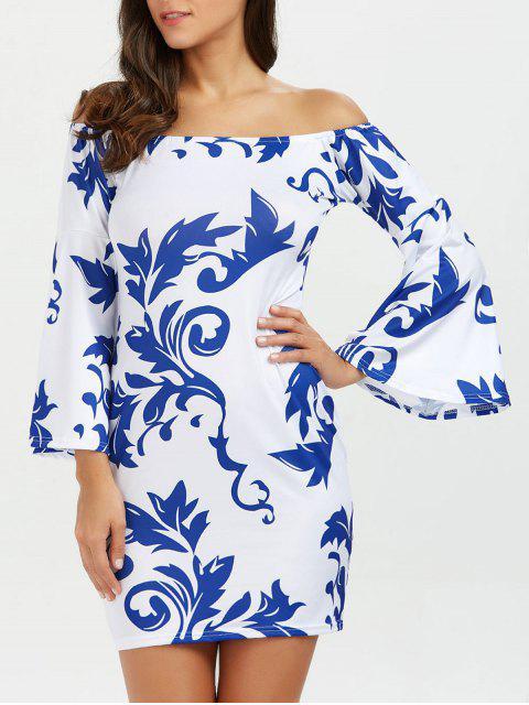 Freizeit Schulterfreies Druck Bodycon Kleid - Weiß L Mobile