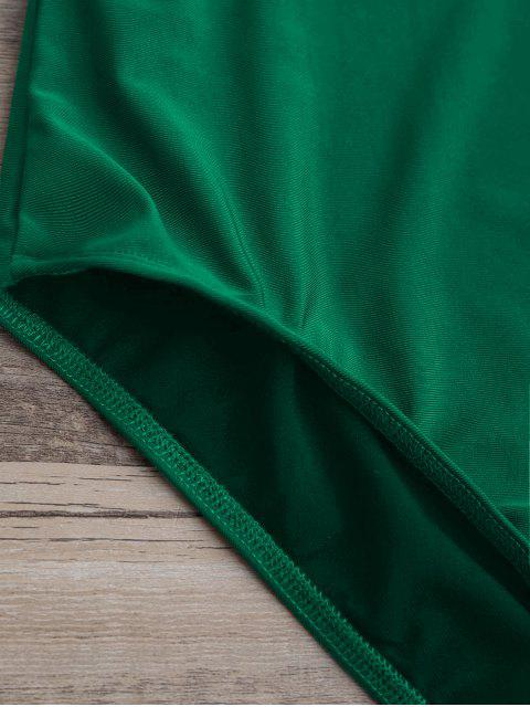 Maillot de Bain à une pièce thong à col plongeant à taille haute - Vert S Mobile