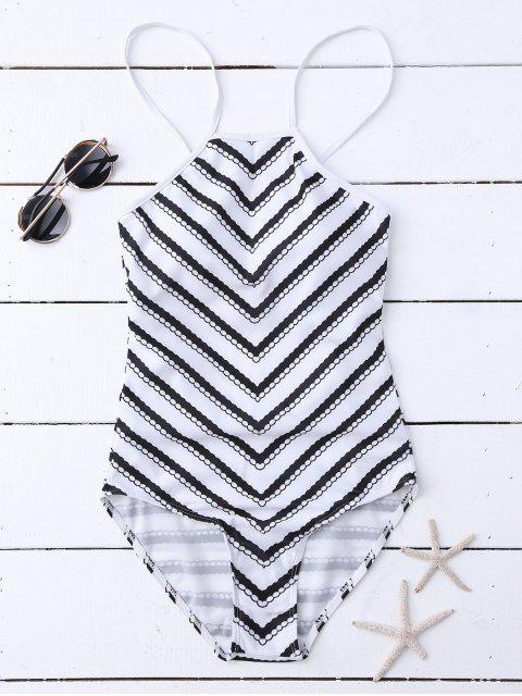 trendy Zig Zag High Neck Backless Swimsuit - WHITE M Mobile