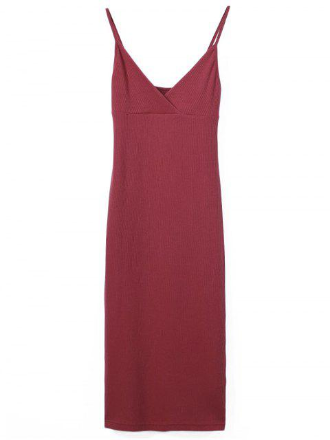 women Slip Surplice Slinky Tank Dress - RED S Mobile