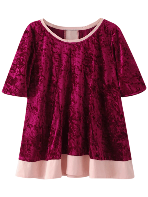 Crushed Velvet Tee - Bourgogne L Mobile