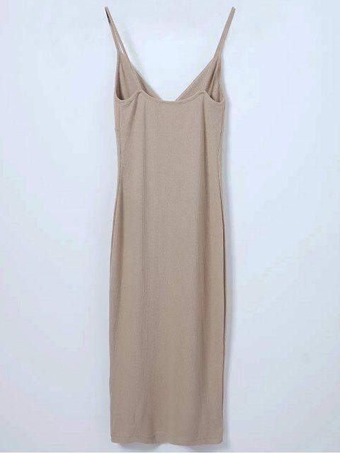 outfits Slip Surplice Slinky Tank Dress - LIGHT KHAKI M Mobile
